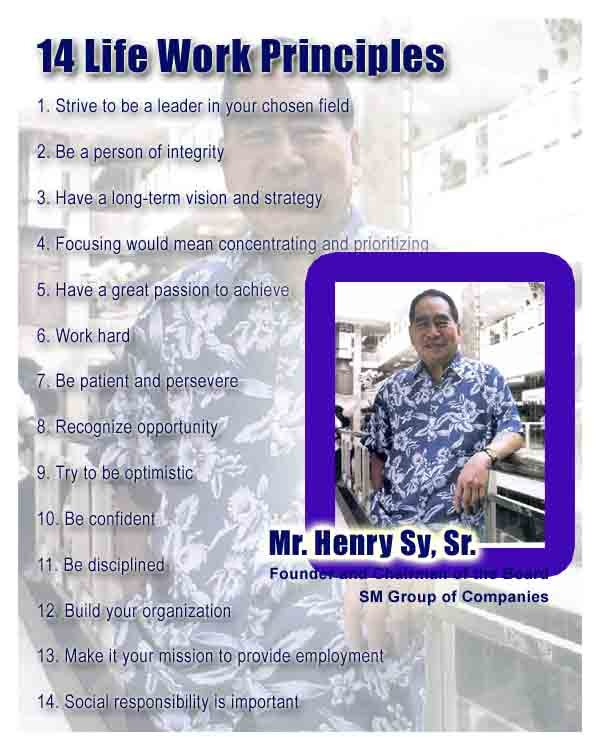 14 Work Life Principles of Henry Sy Sr.