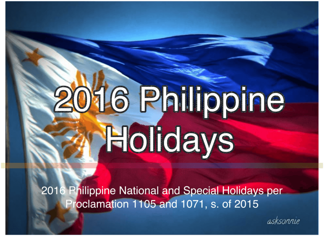 2016 PH National Holidays and Long Weekends