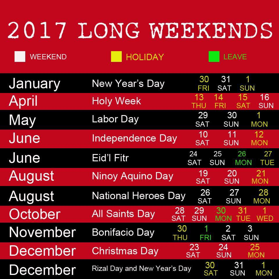 2017 PH National Holidays and Long Weekends