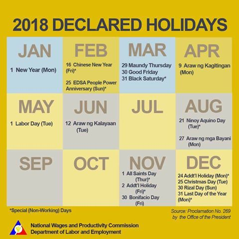 2018 PH National Holidays and Long Weekends