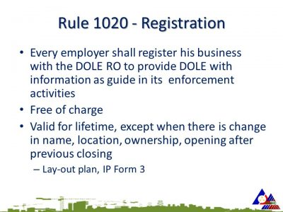 Compliance to DOLE Rule 1020