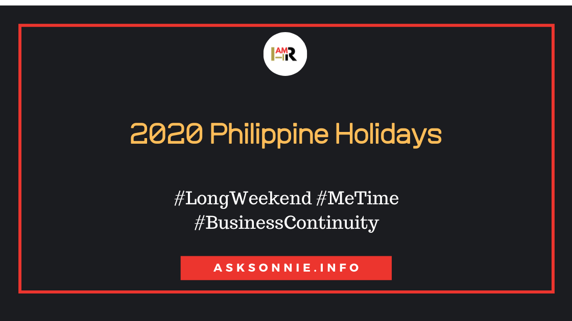 2020 Philippine Holidays, Vacation Time!