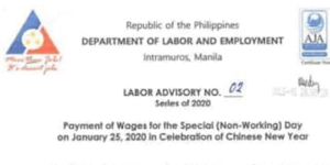 Payment of Wages for Chinese New Year 2020 Holiday