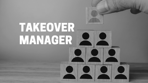 creative illustration of takeover manager